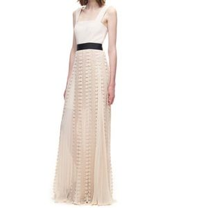 Self Portrait All Lace Pleated Maxi Gown 4 NWT
